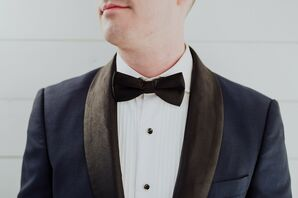 Modern Navy Tuxedo with Black Bow Tie