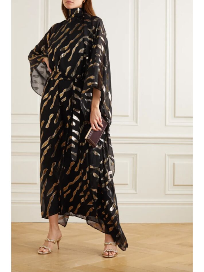 Black kaftan with metallic accents and high neckline