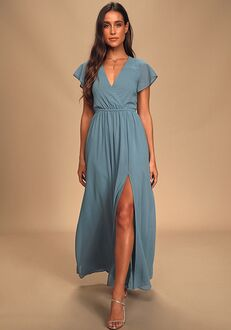 Lulus Lost in the Moment Slate Blue Maxi Dress V-Neck Bridesmaid Dress