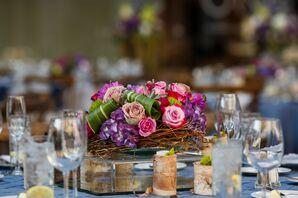 Bird's Nest Centerpiece Filled With Flowers