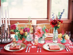 Red Linens and Bright Florals