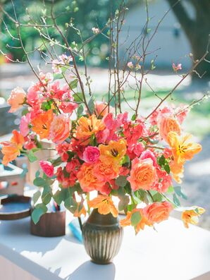 Orange and Coral Rose and Cherry Blossom Arrangements