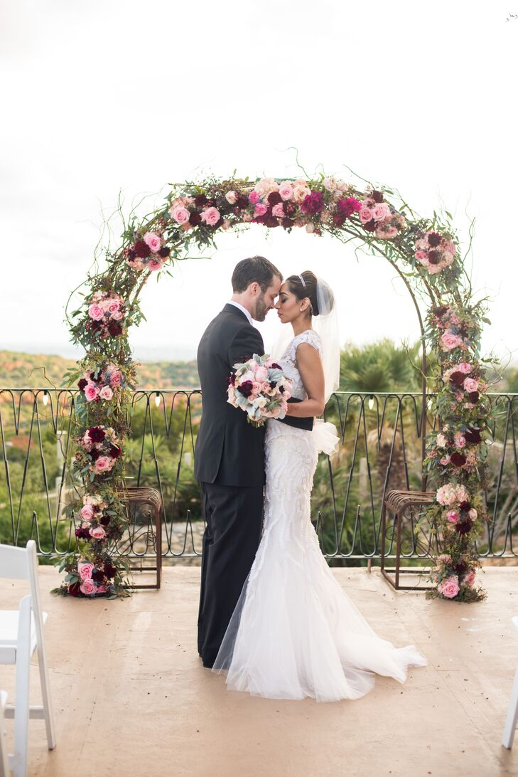 Jewel-Toned Floral Wedding Arch on Villa Antonia Terrace