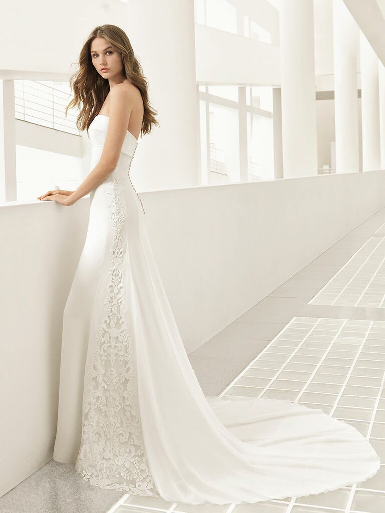 Rosa Clará Fall 2018 wedding dresses strapless gown with lace panels