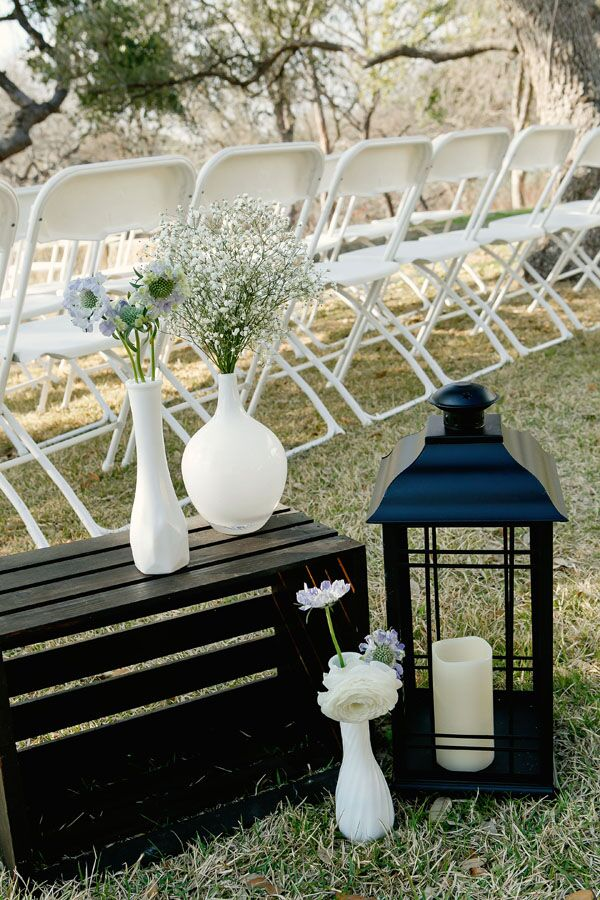 Vintage Vase and Lantern Aisle Decorations