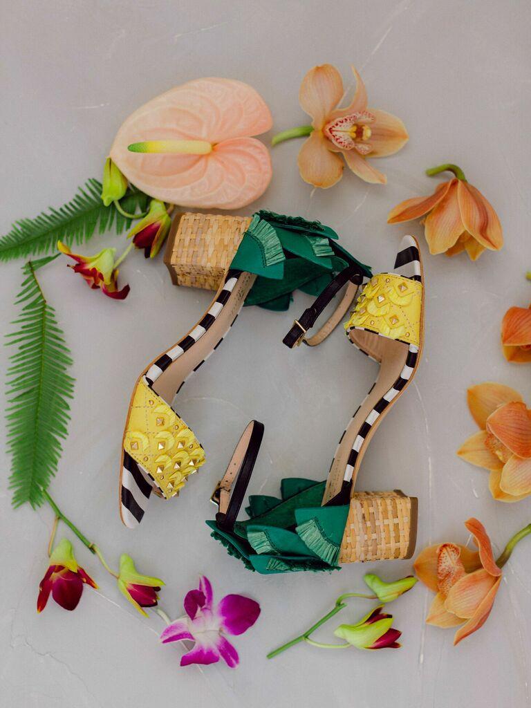 Yellow, tan and green summery block heels