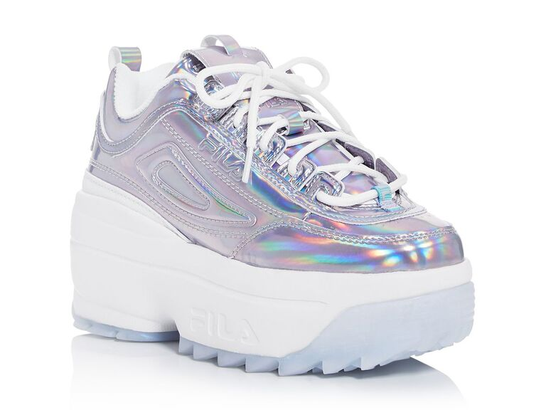 Holographic wedding sneakers