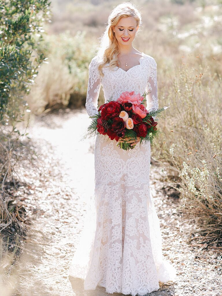 Lace Wedding Dress With Sleeves.14 Gorgeous Lace Wedding Dresses With Sleeves
