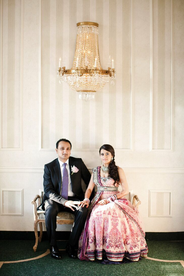 For the reception, Darshan wore a classic black suit, while Shital chose a more customary lehenga with a purple-and-pink pattern.