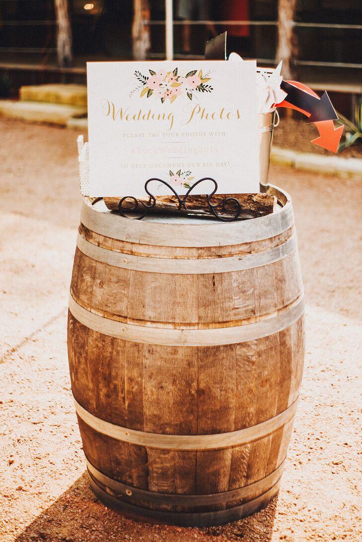 Elegant Photo Booth Sign on Wooden Barrels