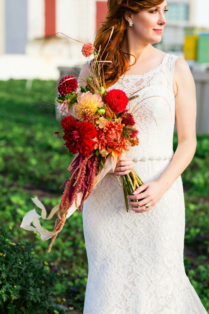Red Dahlia Bouquet at Rooftop Garden Wedding in Brooklyn