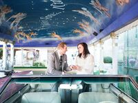 Newlyweds in colorful venue in Nevada