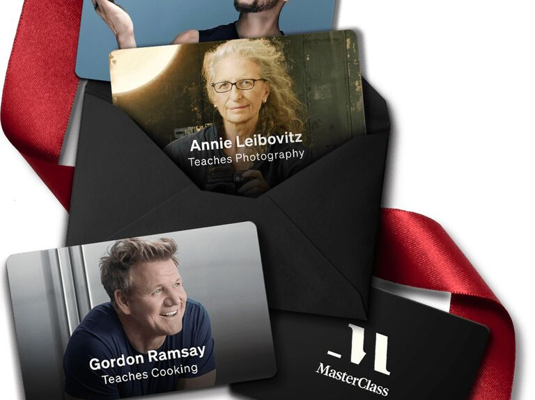 Pictures of MasterClass lesson example including Gordon Ramsay and Annie Leibovitz