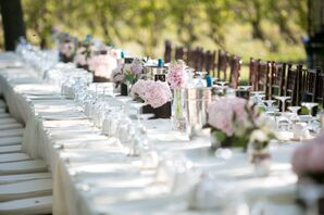 Outdoor Reception With Pink Hydrangea Centerpieces