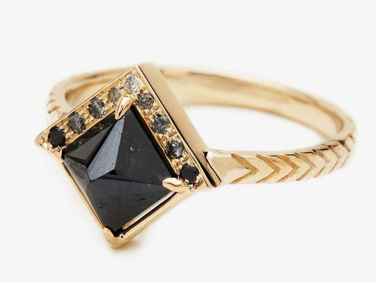 Princess-cut black diamond engagement ring