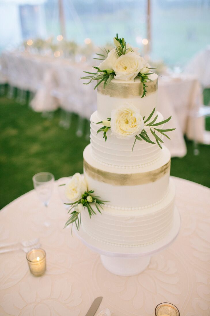 Gold Leaf Painted White Buttercream Wedding Cake