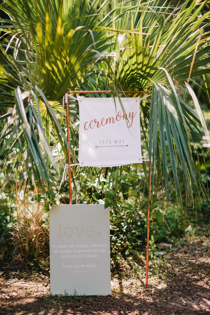 Ceremony Sign Hanging from a Gold Frame