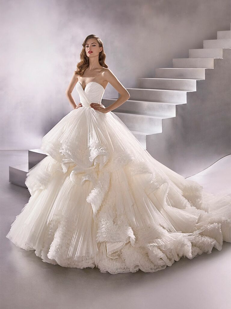 Atelier Provonias wedding dress tulle ball gown with tiered skirt