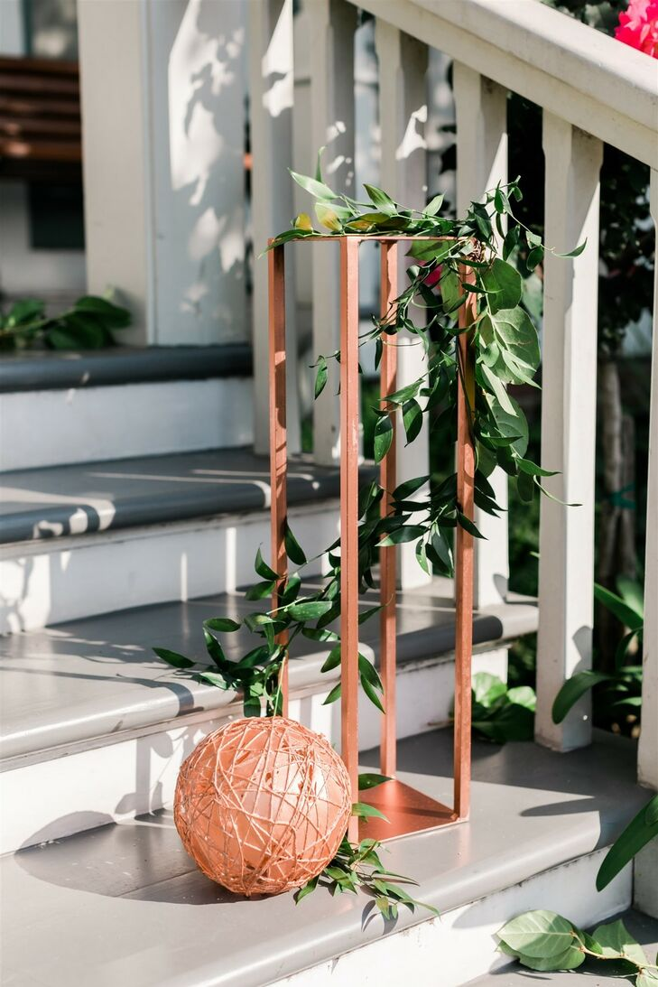 Modern Metallic Decorations with Greenery