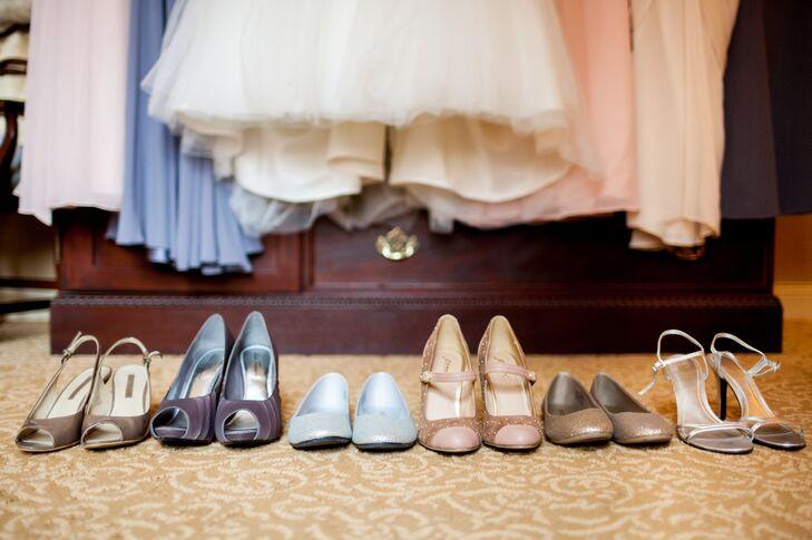 An Assortment of Pastel Wedding Shoes