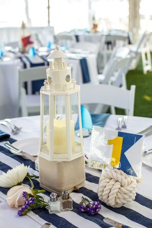 Nautical Centerpieces with Lighthouses and Monkey's Fist Rope Table Numbers