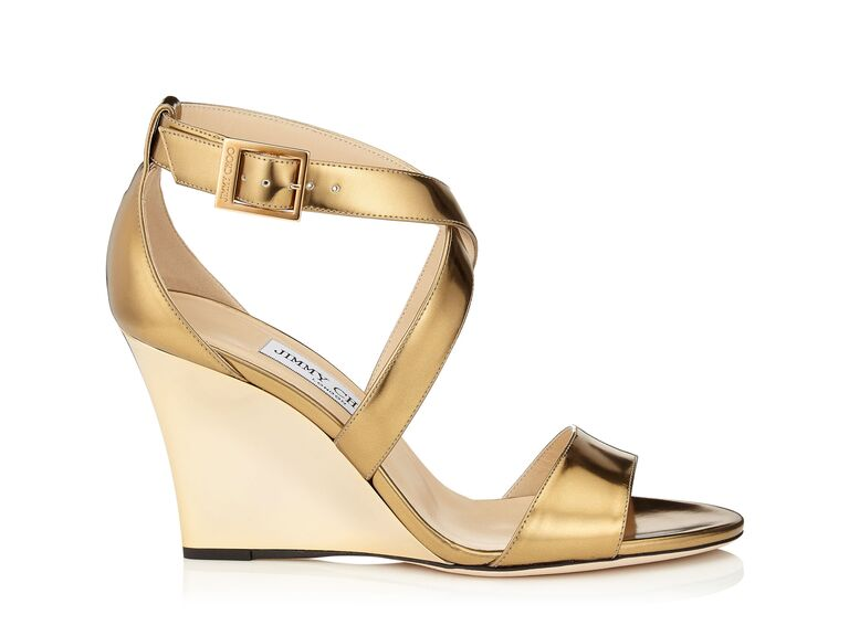 2c75e669c574 Jimmy Choo Fearne gold wedding wedges. Italian-made Fearne wedding wedge  sandals by ...