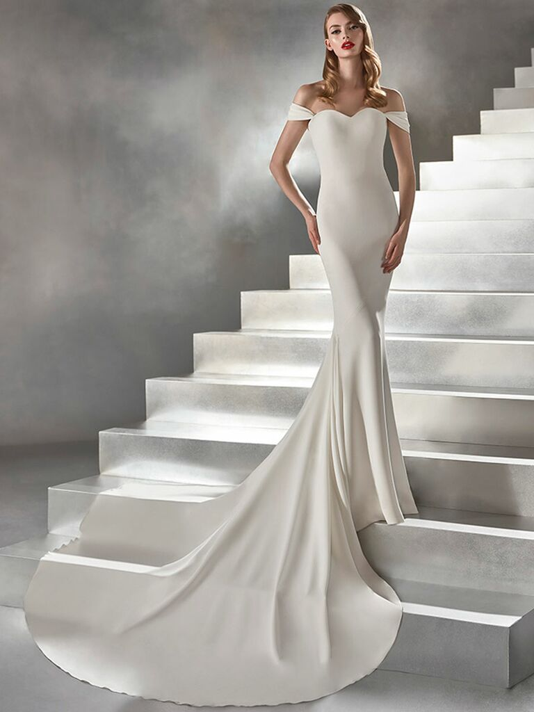 Atelier Provonias wedding dress off-the-shoulder trumpet gown