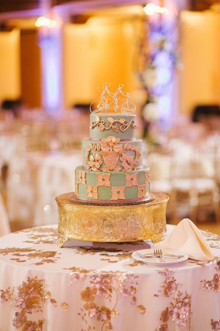 Vintage Mint and Gold Fondant Wedding Cake