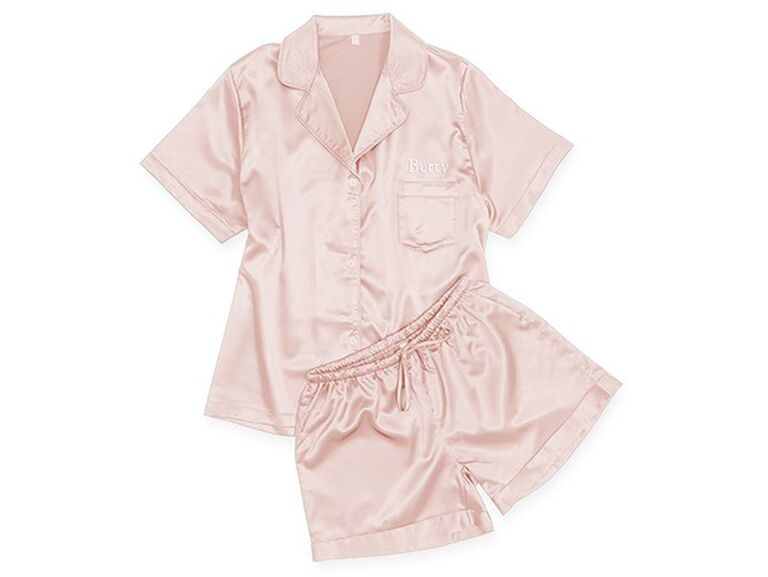 ​The Knot Shop personalized satin pajama sleepwear set affordable bridesmaid gifts