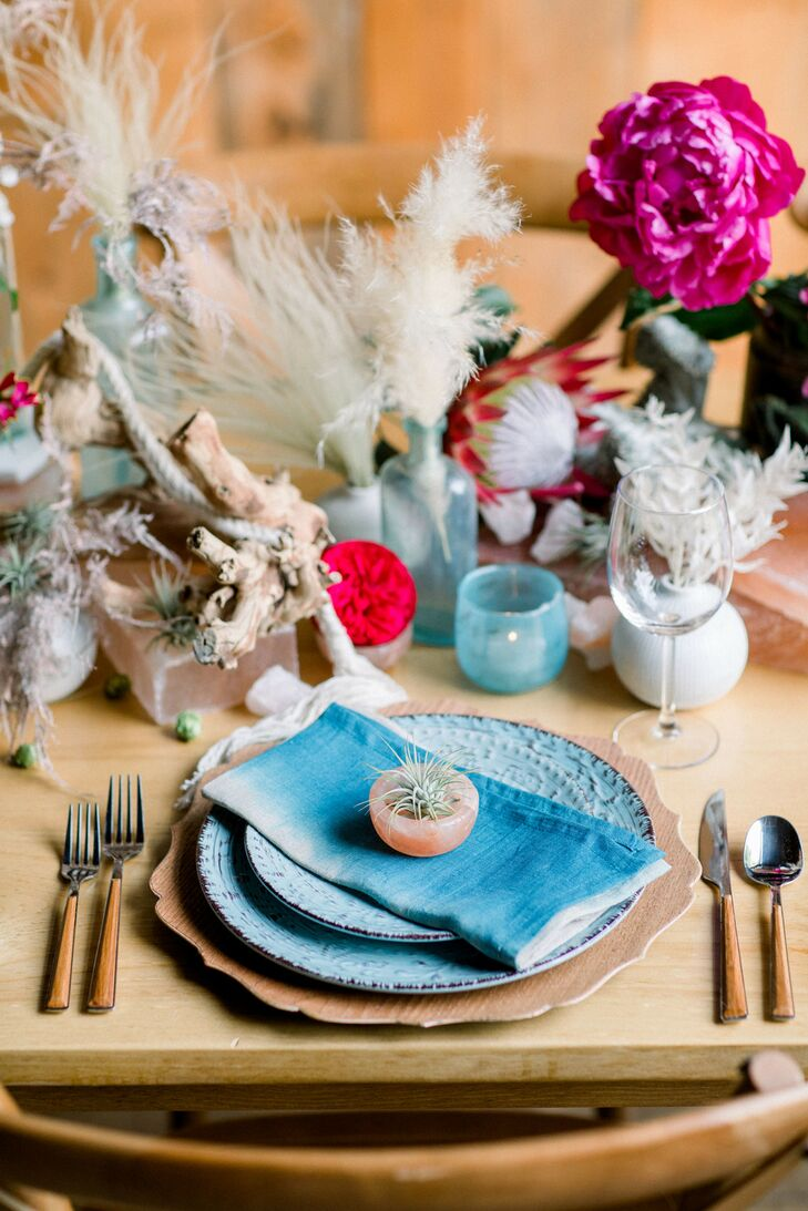Place Setting with Blue Dinnerware, Woodgrain Flatware and Bohemian Centerpieces