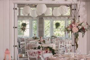 Indoor Reception Decor with White Lanterns and Pink Linens