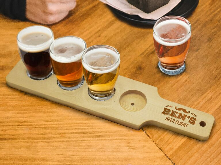 Personalized beer flight tray fourth anniversary gift