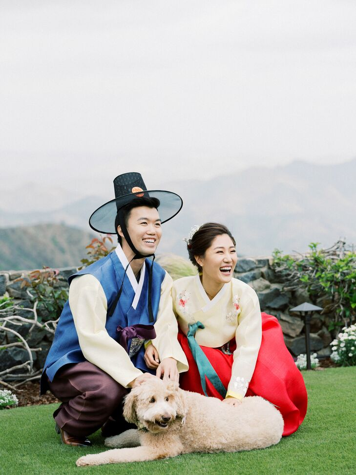 Couple with Traditional Korean Outfits and Hat