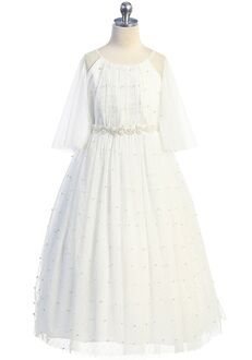 Kid's Dream Pearl Mesh Butterfly Sleeve Long Dress White,Ivory Flower Girl Dress