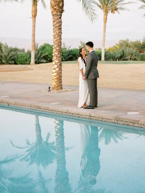 Poolside Wedding Portraits in Coachella, California