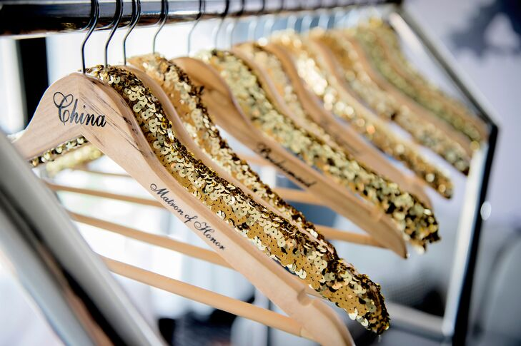 Personalized Gold Sequin Bridesmaid Dress Hangers