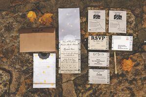Autumn-Themed, Vintage-Inspired Wedding Invitations