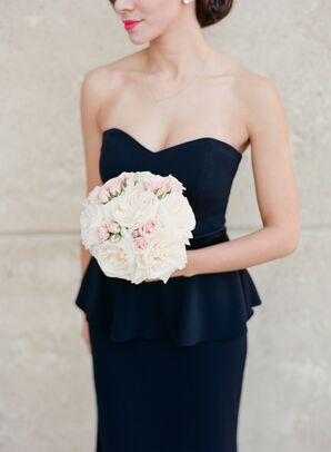 White and Blush Round Bridesmaid Wedding Bouquets