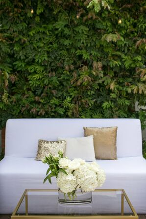 Modern, White Lounge Seating at Reception