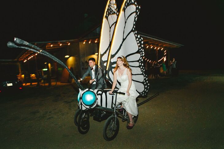 Instead of leaving their big day in a car, Anika and Adam rode away on a giant butterfly bicycle from Austin Bike Zoo. Throughout the night it also served as entertainment for guests to ride and take photos with.