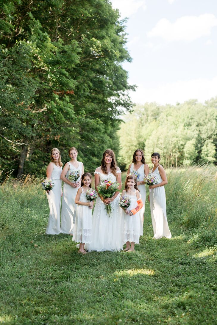 White V-Neck A-Line Bridesmaid Dresses