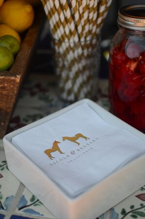 Horse Design on White Napkins