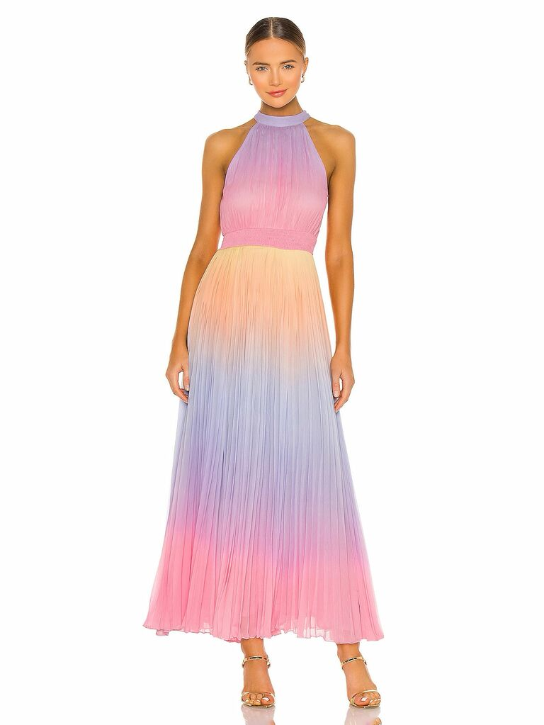 Rococo Sand pastel rainbow ombre pleated maxi dress with halter neckline