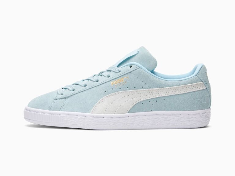 Light blue and white suede Puma sneakers for wedding