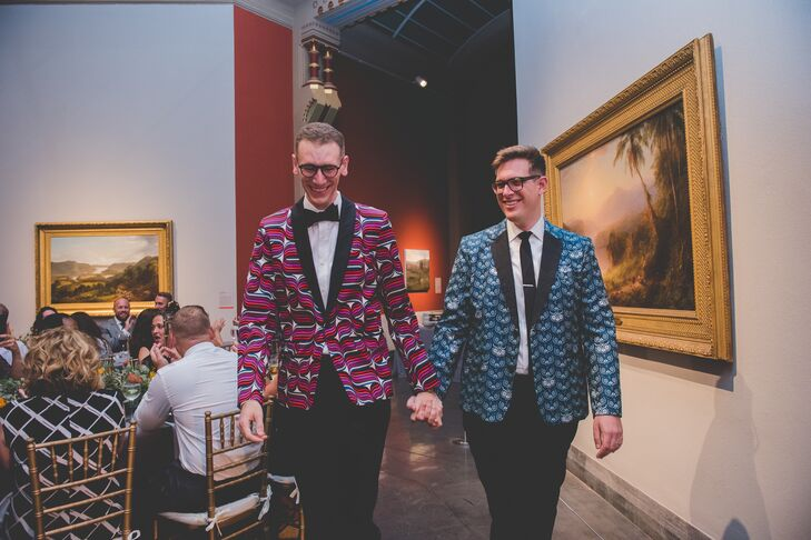 Grooms with Colorful Patterned Suit Jackets