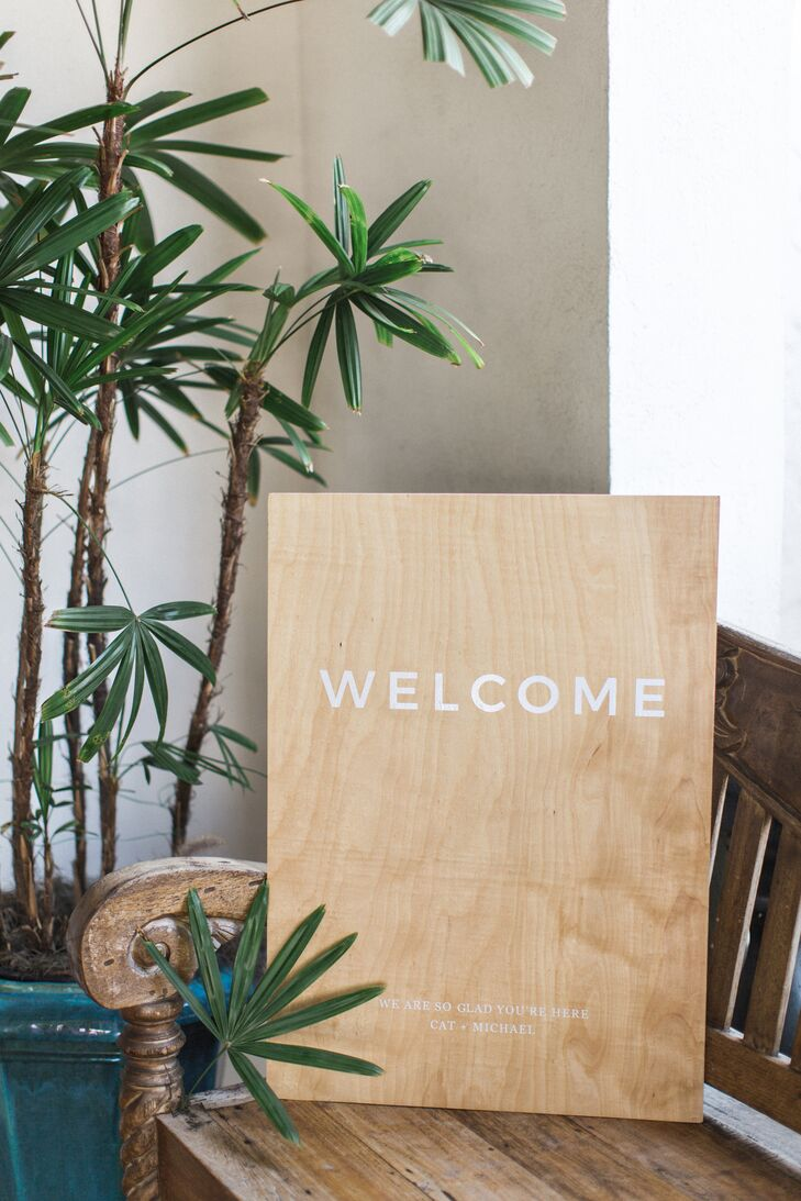 Minimal Wood Welcome Sign with Modern Typography