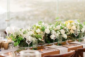 Ivory Rose and Green Queen Anne's Lace Centerpieces
