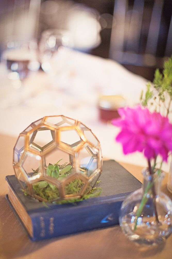 Terrarium and Vintage Book Centerpiece