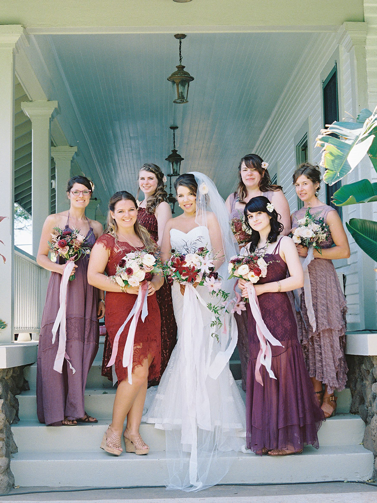 Shades Of Purple Mismatched Bridesmaid Dresses