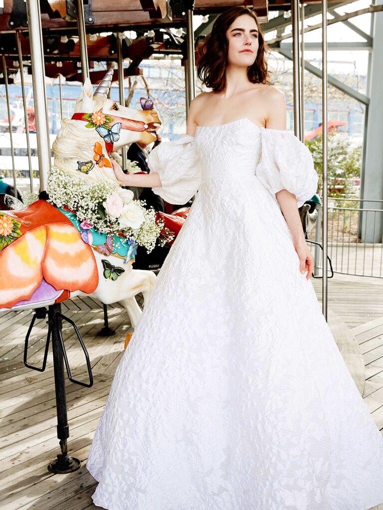 Lela Rose Spring 2020 Bridal Collection off-the-shoulder embroidered wedding dress